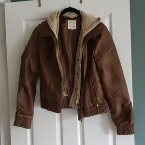 Brown Leather Jacket with Faux Sweater and Hood